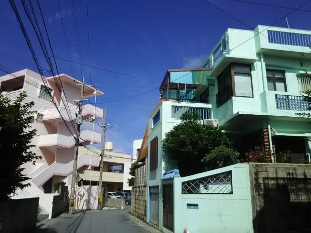 ピンクとブルーの家