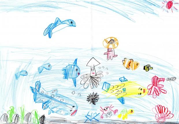 6歳のダイバー候補生が描く、賑やかな海の様子!